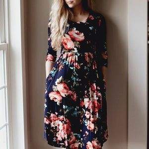 Spring Blooms Floral Print Pocket Midi Dress S M L